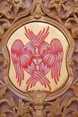 BRUGES, BELGIUM - JUNE 13, 2014: The cherub symbolic on the iconostasis in st. Constanstine and Helena orthodox church (2007 - 2008). — Stock Photo