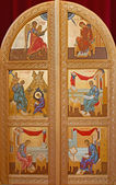 BRUGES, BELGIUM - JUNE 13, 2014: The door to presbytery with the icons of the four evengelists and the Annunciation scene in st. Constanstine and Helena orthodox church (2007 - 2008). — Stock Photo