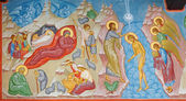 BRUGGE, BELGIUM - JUNE 13, 2014: Fresco of the Nativity scene and Baptism of Christ scene in st. Constanstine and Helena orthodx church (2007 - 2008). — Zdjęcie stockowe
