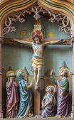 MECHELEN, BELGIUM - JUNE 14, 2014: Carved relief the Crucifixion of Jesus on new gothic side altar in church Our Lady across de Dyle. — Stock Photo