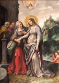 ANTWERP, BELGIUM - SEPTEMBER 5, 2013: The Visitation of Virgin Mary to Elizabeth by Frans Francken (1581 - 1642) in Saint Pauls church (Paulskerk) — Stock Photo