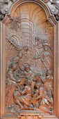 MECHELEN, BELGIUM - JUNE 14, 2014:  The carving of Nativity scene by Ferdinand Wijnants in st. Johns church or Janskerk from begin of 20. cent. — Stock Photo