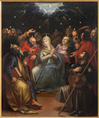 Mechelen, bélgica - 14 jun 2014: pentecostes cena a pintura op pelo desconhecido pintor em r. igreja johns ou janskerk. — Foto Stock