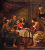 MECHELEN, BELGIUM - JUNE 14, 2014: The central part of the paint Jesus and disciple of Emausy at supper by G. Herreuns (1793)  in st. Johns church or Janskerk. — Stock Photo