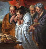 MECHELEN, BELGIUM - JUNE 14, 2014: The Four Evangelists by Joraens school (cca1620). The original paint of the master is in the Louvre museum. — Stock Photo