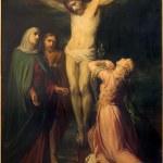 Постер, плакат: BRUSSELS BELGIUM JUNE 15 2014: The Crucifixion paint by Jean Baptiste van Eycken 1809 1853 in Notre Dame de la Chapelle