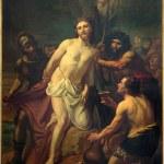 Постер, плакат: BRUSSELS BELGIUM JUNE 15 2014: Jesus Stripped of His Garments Paint by Jean Baptiste van Eycken 1809 1853 in Notre Dame de la Chapelle