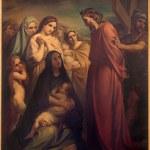 Постер, плакат: BRUSSELS BELGIUM JUNE 15 2014: Jesus meets the women of Jerusalem by Jean Baptiste van Eycken 1809 1853 in Notre Dame de la Chapelle