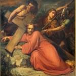Постер, плакат: BRUSSELS BELGIUM JUNE 15 2014: Simon of Cyrene help Jesus to carry his cross by Jean Baptiste van Eycken 1809 1853 in Notre Dame de la Chapelle