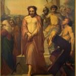 Постер, плакат: BRUSSELS BELGIUM JUNE 15 2014: Jesus for Pilate by Jean Baptiste van Eycken 1809 1853 in Notre Dame de la Chapelle