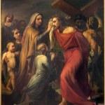 Постер, плакат: BRUSSELS BELGIUM JUNE 15 2014: Veronica wipes the face of Jesus by Jean Baptiste van Eycken 1809 1853 in Notre Dame de la Chapelle
