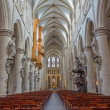 ������, ������: BRUSSELS BELGIUM JUNE 16 2014: Nave of gothic cathedral of Saint Michael and Saint Gudula