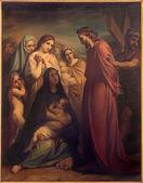 BRUSSELS, BELGIUM - JUNE 15, 2014: Jesus meets the women of Jerusalem by Jean Baptiste van Eycken (1809 - 1853) in Notre Dame de la Chapelle — Stock Photo
