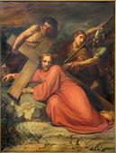 BRUSSELS, BELGIUM - JUNE 15, 2014:  Simon of Cyrene help Jesus to carry his cross by Jean Baptiste van Eycken (1809 - 1853) in Notre Dame de la Chapelle — Stock Photo