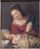 "BRUSSELS, BELGIUM - JUNE 15, 2014: The Madonna and sleeping little Jesus ""Maria pacis - Mary of peace"" (1716) by unknown painter in st. Nicholas church as on the epitaph of pastor  P. H. Ausloos. — Stock Photo"