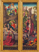 VIENNA, AUSTRIA - FEBRUARY 17, 2014: The Burial and Resurrection of Jesus scene from gothic carved altar in Church of the Teutonic Order or Deutschordenkirche from year 1520 primarily from Mechelen. — Stock Photo