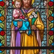 TRNAVA, SLOVAKIA - MARCH 3, 2014: Saint Joseph from windowpane of st. Helen church from 19. cent. — Stock fotografie #49389987