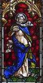 MADRID - MARCH 10: Virgin Mary from windowpane of church San Jeronimo el Real on March 10, 2013 in Spain. — Stock Photo