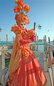 VENICE, ITALY - FEBRUARY 26, 2011: Luxury mask from carnival on the waterfront of Piazza San Marco square. — Stock Photo