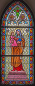 TRNAVA, SLOVAKIA - MARCH 3, 2014: Saint Ann from windowpane of st. Helen church from 19. cent. — Stock Photo