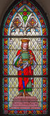 TRNAVA, SLOVAKIA - MARCH 3, 2014: Saint Stephen king of Hungary from windowpane of st. Helen church from 19. cent. — Stockfoto