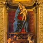 """VENICE, ITALY - MARCH 12, 2014: """"Madonna della Misericordia"""" from sacristy of church Basilica di Santa Maria Gloriosa dei Frari by unknown painter from Venice (15. cent.). — Stock Photo #49396591"""