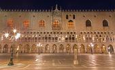 Venice - Doge palace at night — Stok fotoğraf