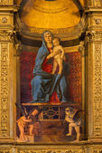 "VENICE, ITALY - MARCH 12, 2014: ""Madonna della Misericordia"" from sacristy of church Basilica di Santa Maria Gloriosa dei Frari by unknown painter from Venice (15. cent.). — Stock Photo"