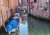 Venice - little aisle with the boats — Stock Photo