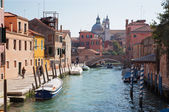 VENICE, ITALY - MARCH 12, 2014: Canal Rio Ognissanti and Chiesa dei Gesuati in bacground. — Stock Photo