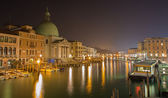 VENICE, ITALY - MARCH 13, 2014: Canal grande and church San Simeone Picolo at night. — Stock Photo