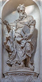 VENICE, ITALY - MARCH 11, 2014: Statue of Moses (1738 - 1755) from church Santa Maria del Rosario (Chiesa dei Gesuati) by Giovani Maria Morlaiter — Zdjęcie stockowe