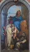 VENICE, ITALY - MARCH 11, 2014: The Appartation of the Virgin st. Rosalia of Lima, Catherine of Siena and st. Agnes by Giambattista Tiepolo (1748) in Chiesa di Santa Maria del Rosario (Gesuati). — Stock Photo