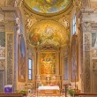 ������, ������: BOLOGNA ITALY MARCH 17 2014: Presbytery and main altar of church San Michele in Bosco with the paint by Frederico Gnudi 1850 and fresco by C M Canuti