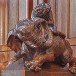������, ������: BRATISLAVA SLOVAKIA FEBRUARY 11 2014: Elephant symbolic carved sculpture from bench in presbytery in st Matins cathedral from years 1863 1878 from manufactures of A Furst a J Hutterer