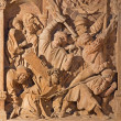 VIENNA, AUSTRIA - FEBRUARY 17, 2014: Medieval reliefs of Jesus under cross scene from St. Stephens cathedral or Stephansdom. — Stock Photo #49407127