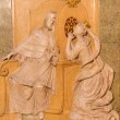 VIENNA, AUSTRIA - FEBRUARY 17, 2014: Relief from side chapel of st. John the Nepomuk in baroque st. Annes church. Scene form life of the saint at convession of thw queen. — Stock Photo #49407483