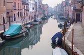 Venice - Fondamenta dei Riformati street and canal in morning fog. — Stock Photo