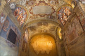 BOLOGNA, ITALY - MARCH 15, 2014: Ceiling and walls of external atrium of Archiginnasio. — Foto de Stock