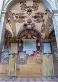 BOLOGNA, ITALY - MARCH 15, 2014: Porcicos and atrium from the entry to external atrium of Archiginnasio. — Stock Photo