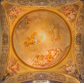 BOLOGNA, ITALY - MARCH 15, 2014: Fresco in side cupola of Dom - Saint Peters baroque church by U. Bigari (1692 - 1776). Pope Celestine, st. Peter and st. Petronio - bishop of Bologna. — Stock Photo