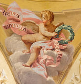 BOLOGNA, ITALY - MARCH 15, 2014: Fresco of angel in side cupola of Dom - Saint Peters baroque church by U. Bigari (1692 - 1776). — Stock Photo