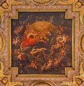 """BOLOGNA, ITALY - MARCH 15, 2014: The Coronation of Virgin Mary. Ceiling from """"Oratorio de Batutti"""" from 17. cent. in complex of baroque church Santa Maria della Vita. — Stock Photo"""