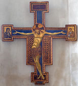 BOLOGNA, ITALY - MARCH 16, 2014: The Crucifixion by Giunta Pisano (1250) in baroque church San Domenico - Saint Dominic. — Stock Photo