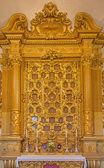 波洛尼亚、 意大利-2014 年 3 月 17 日: 圣物箱内礼拜堂的巴洛克式教堂圣吉罗拉莫德拉修道院. — 图库照片