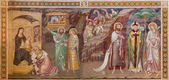 TREVISO, ITALY - MARCH 18, 2014: Fresco of Adoration of Magi (1370) in saint Nicholas or San Nicolo church. — Stock Photo