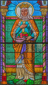 ROZNAVA, SLOVAKIA - APRIL 19, 2014: St. Elizabeth of Hungary from windowpane from 19. cent. in the cathedral. — Stock Photo