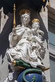 ANTWERP, BELGIUM - SEPTEMBER 5, 2013: Statue of baroque Madonna from house facade. — Stock Photo