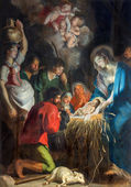 ANTWERP, BELGIUM - SEPTEMBER 5, 2013: The Nativity scene by baroque painter Cornelius de Vos (1584 - 1651) in Saint Pauls church (Paulskerk) — Stock Photo