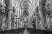 BRUSSELS, BELGIUM - JUNE 16, 2014: Nave of gothic cathedral of Saint Michael and Saint Gudula. — Foto Stock